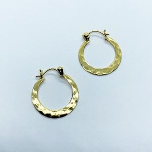 Sterling 925 Gold Wash Boho Hammered Hoop Earrings